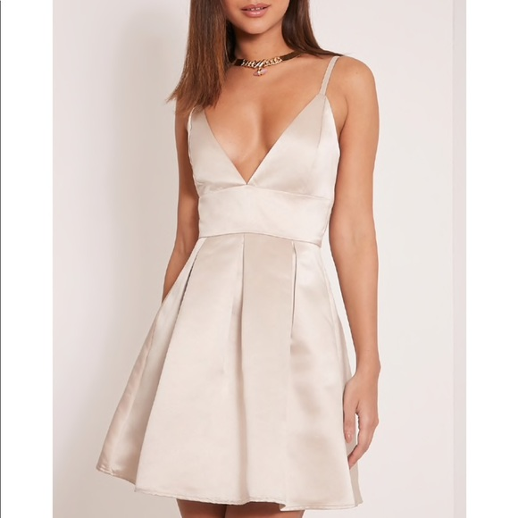 d3fea983509 Annora Champagne Satin Strappy Skater Dress